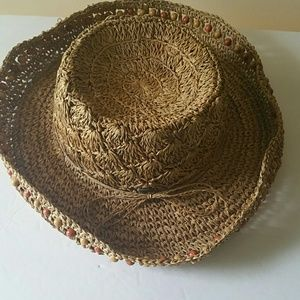 The Scala Collection Straw Beaded Roll up Hat